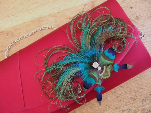 "Bridal Peacock Feathers Butterfly ""Sophia"" Crystal Bag Clip BCP2710"